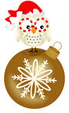 Owl on glass ball Christmas ornament