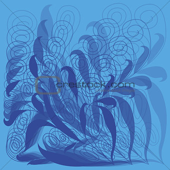 Abstract floral vector pattern in blue