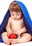 Sweet child with red apple
