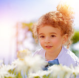 Cute little boy on daisy field