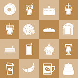 Set of bakery and drinks elements for coffee shop