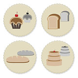 Set of vintage variety bakery badges