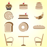 Variety of bakery color icons in coffee shop