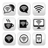 Wifi, internet cafe, wifi vector buttons set