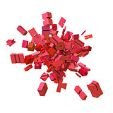 block alphabet font exploded in pink red