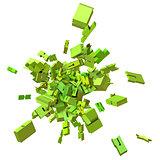block alphabet font exploded in green