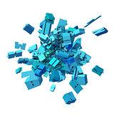 block alphabet font exploded in blue