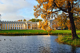 The Alexander palace in Pushkin. Autumn landscape