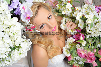 beautiful chic woman around the flowers.