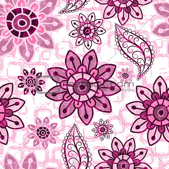 Floral pink grunge seamless pattern