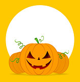 Halloween pumpkins on orange background