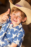 Happy Blond Boy Child Cowboy Hat Star Shirt