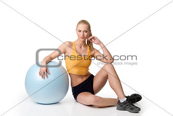 blond girl with gym ball