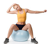 stretching exercises of blond woman