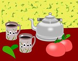Coffee Pot with Mugs and   Apples.