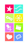 Set of flat neon colored cinema icons