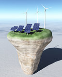 Ecological generators on top of a conical terrain
