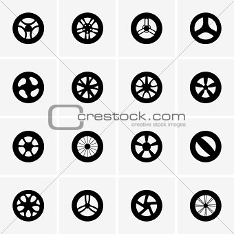 Baby stroller wheel icons