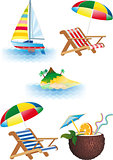 Summer recreations and travel objects vector set