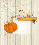 Background with paper and pumpkin