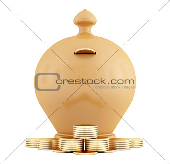 Clay piggy bank and coins