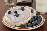 Blueberry cream cheese on rice cakes with milk