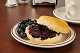 Biscuit with wild blueberry jam
