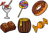 sweet food objects cartoon illustration set