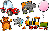 toys objects cartoon illustration set