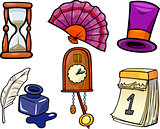 retro objects cartoon illustration set