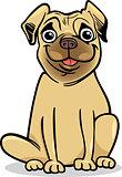 cute pug dog cartoon illustration
