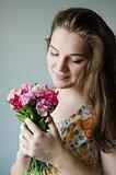 girl look in flowers