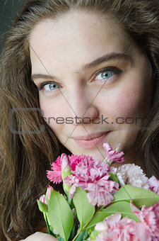 beauty young girl with blue eyes