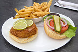 Crabcake Burger with French Fries
