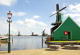 dutch windmills over river in Zaanse Schans