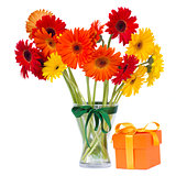 gerbera flowers in vase with gift box