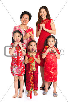 Asian Chinese family celebrate Chinese New Year