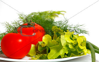 Tomatoes and greens on a white plate
