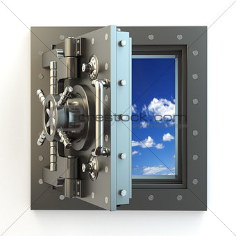 Freedom. Opening vault door and sky behind it.