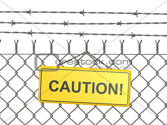 Caution. barbed wire fence with sign.