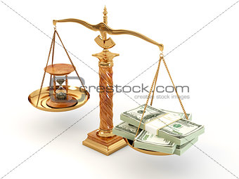 Time is money. Money and hourglass on scale