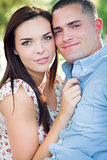 Mixed Race Romantic Couple Portrait in the Park