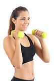 Beautiful fitness woman practicing aerobic with dumbbells