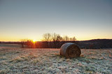 Hay Bale and Sunrise