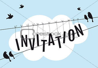 birds on wire in blue sky, vector