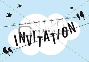 birds on wire in blue sky, vector