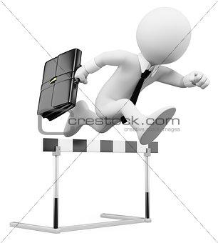 3D businessman white people. Hurdle race