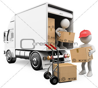 3D white people. Workers unloading boxes from a truck