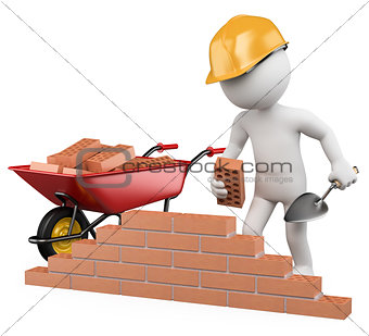 3D white people. Construction worker