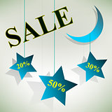 Stars Sale Board Design. Vector Illustration